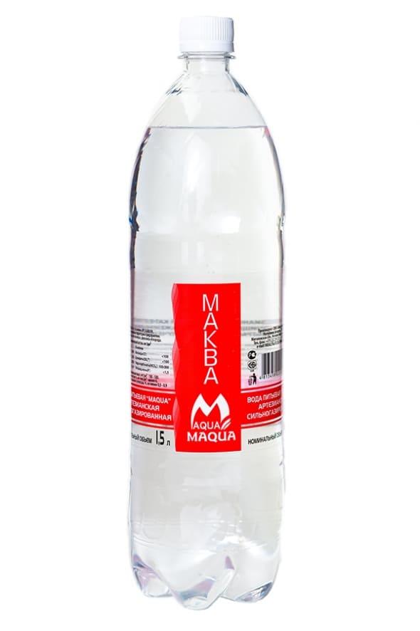 """Вода питьевая сильногазированная """"MAQUA"""" 1,5 л."""
