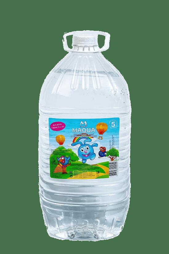 """Вода питьевая негазированная """"MAQUA"""" с белым колпачком для детей старше трех лет 5л."""